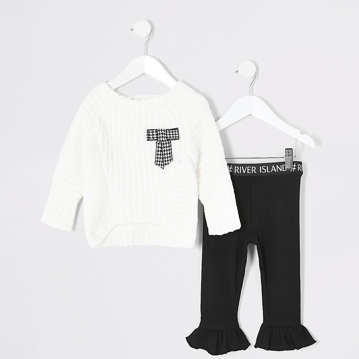 Mini - Outfit met crèmekleurige pullover met chenille strikvoor meisjes
