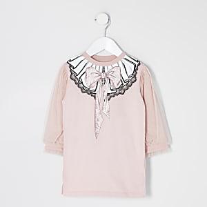 Mini – T-Shirt-Kleid in Rosa mit Schleifen-Print und Mesh-Ärmeln für Mädchen
