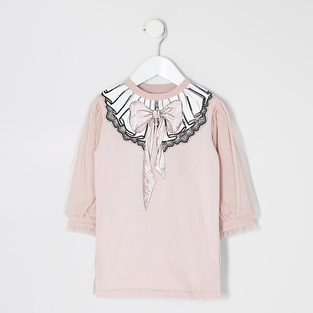 Mini girls pink bow print mesh T-shirt dress
