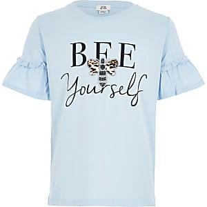 """Rüschen-T-Shirt """"Bee Yourself"""" für Mädchen in Blau"""