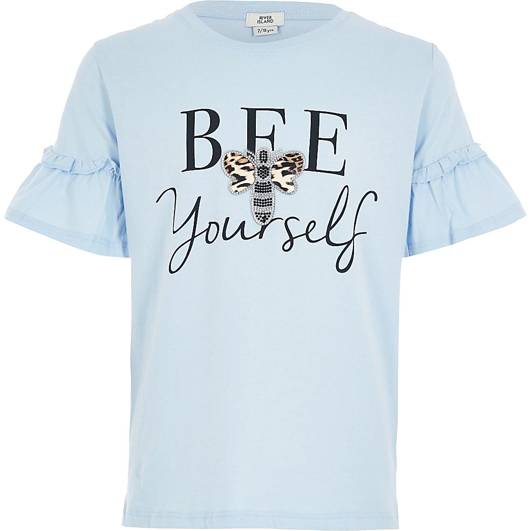Blauw T-shirt met ruches en 'Bee yourself'-tekst voor meisjes