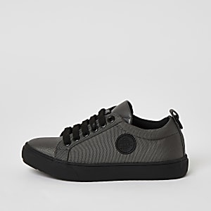 Boys grey perforated lace-up trainers
