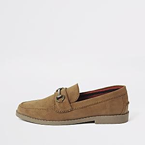 Bruine suèdine loafers met trens voor jongens
