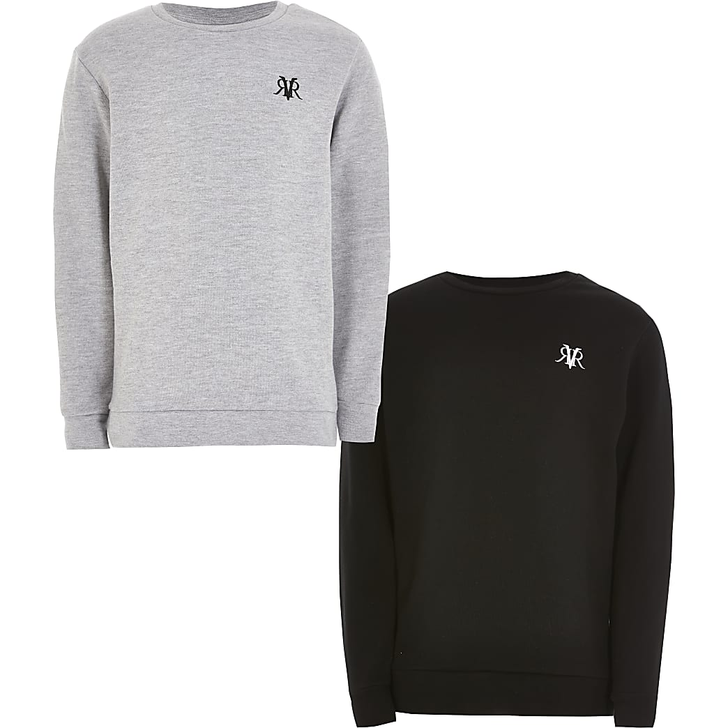 Boys grey and black RVR sweatshirt 2 pack