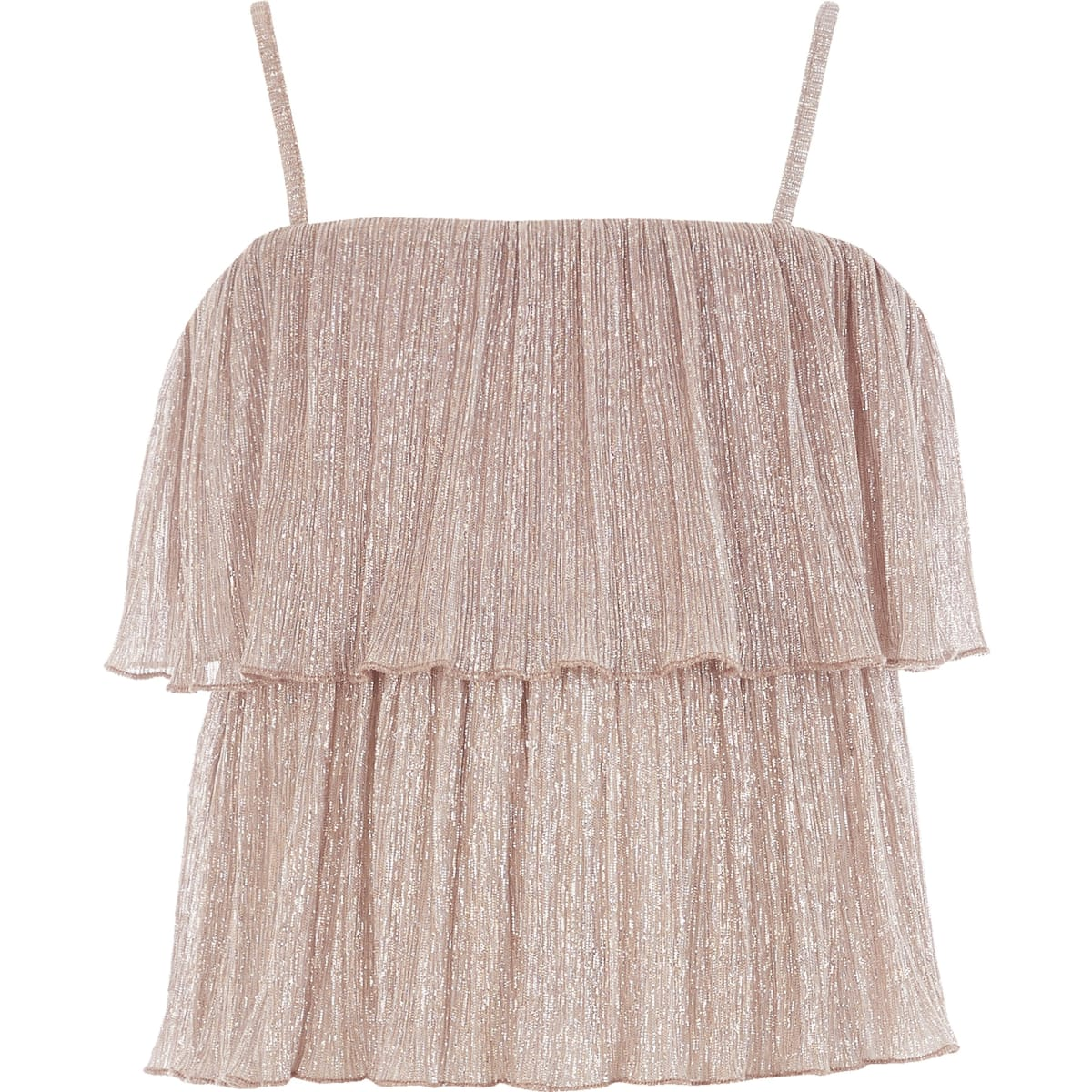 Girls rose gold plisse frill cami top