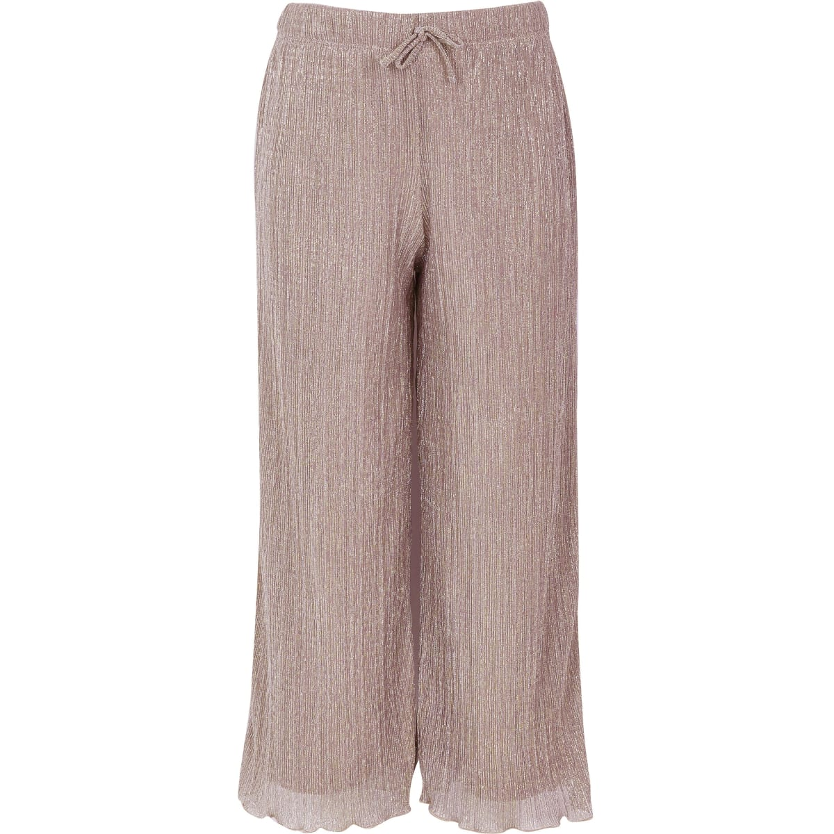 Girls rose gold plisse wide leg trousers
