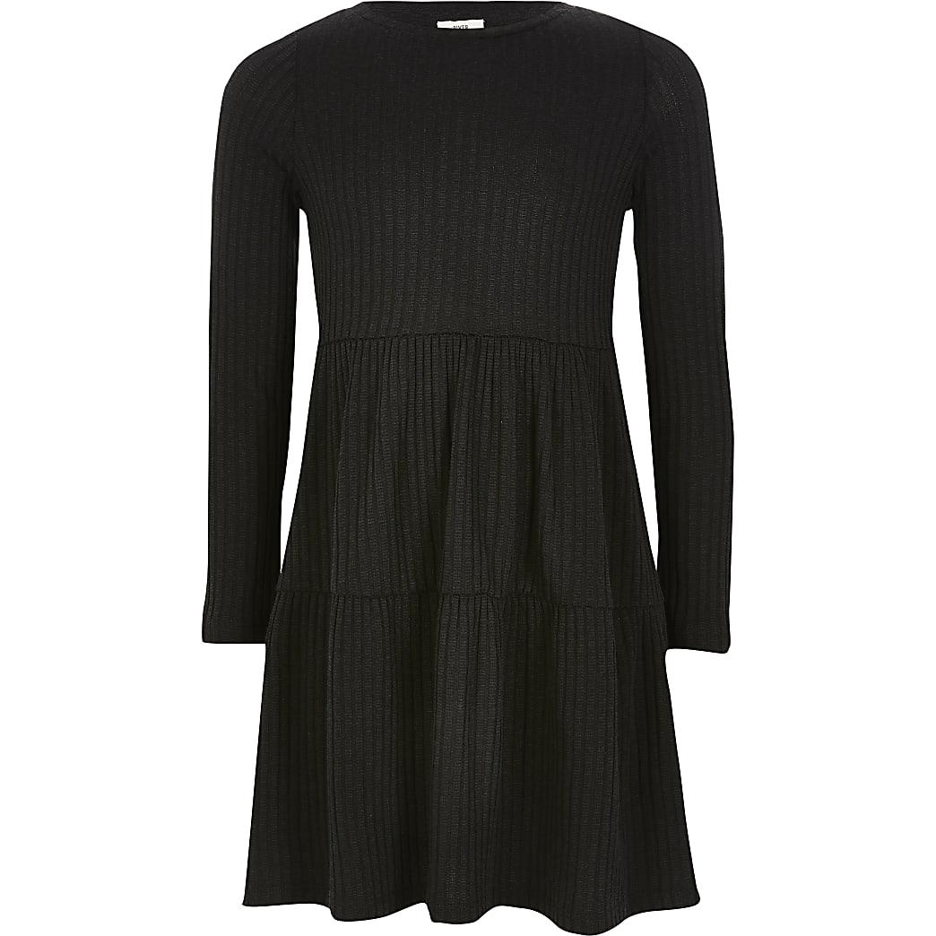 Girl black ribbed smock dress