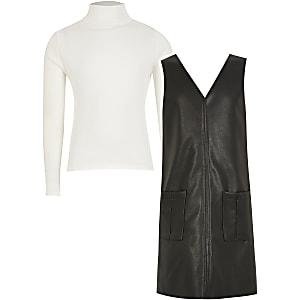 Tenue avec robe droite en cuir synthétique noir pour fille