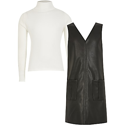Girls black faux leather shift dress outfit