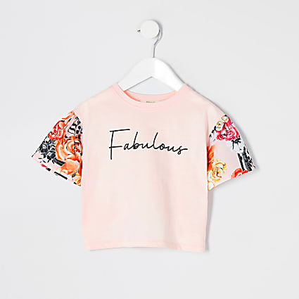 Mini girls pink 'Fabulous' floral T-shirt