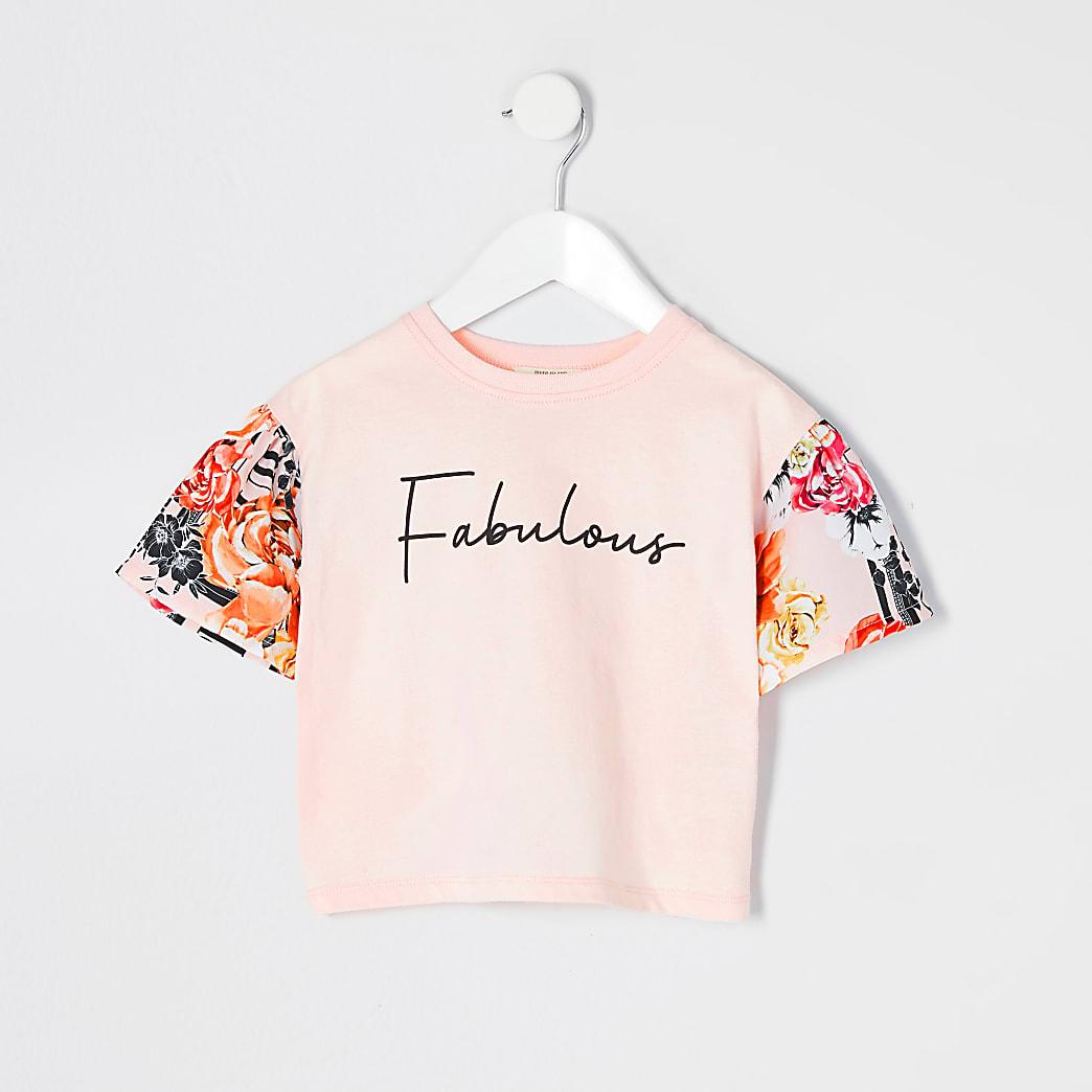 "Mini – Geblümtes T-Shirt ""Fabulous"" in Rosa für Mädchen"