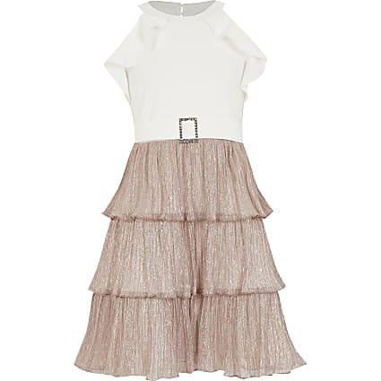 Girls rose gold plisse ruffle halter dress