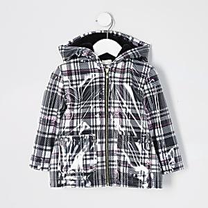 Mini - Zwart geruit gewatteerdregenjack voor meisjes