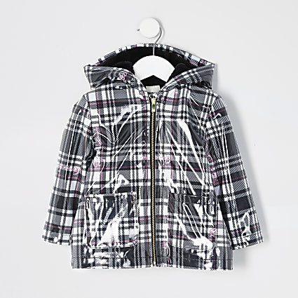 Mini girls black check padded rain jacket