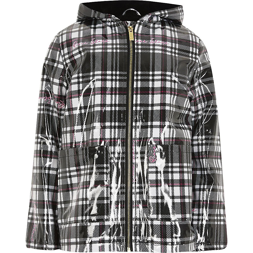 Girls black check padded rain jacket