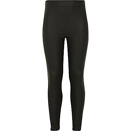 Girls black matte coated leggings