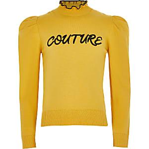 """Pull à col montant et volants """"Couture"""" jaune fille"""