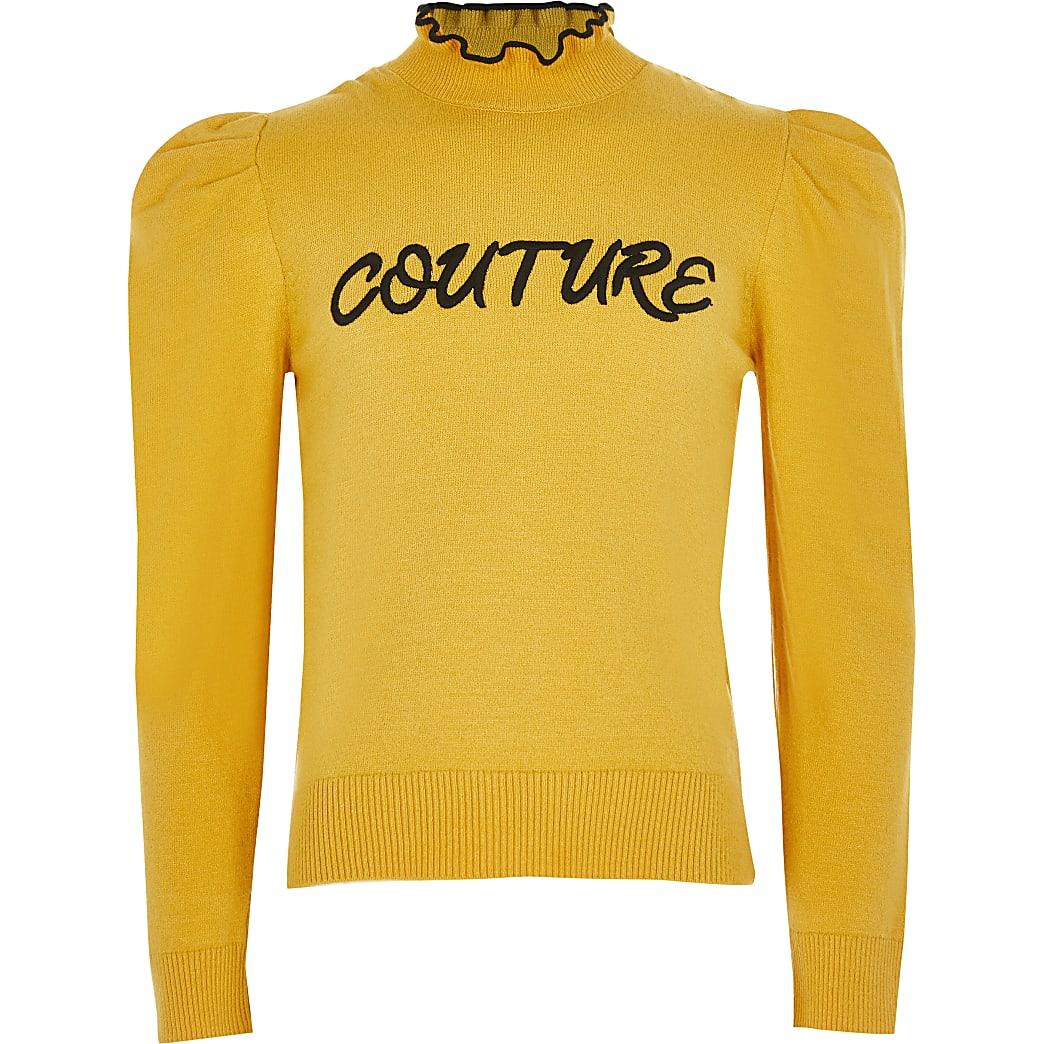 Gele hoogsluitende trui met 'Couture'-print en ruches voor meisjes