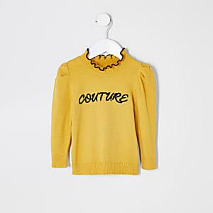 Mini - Gele trui met 'Couture'-print met ruches voor meisjes