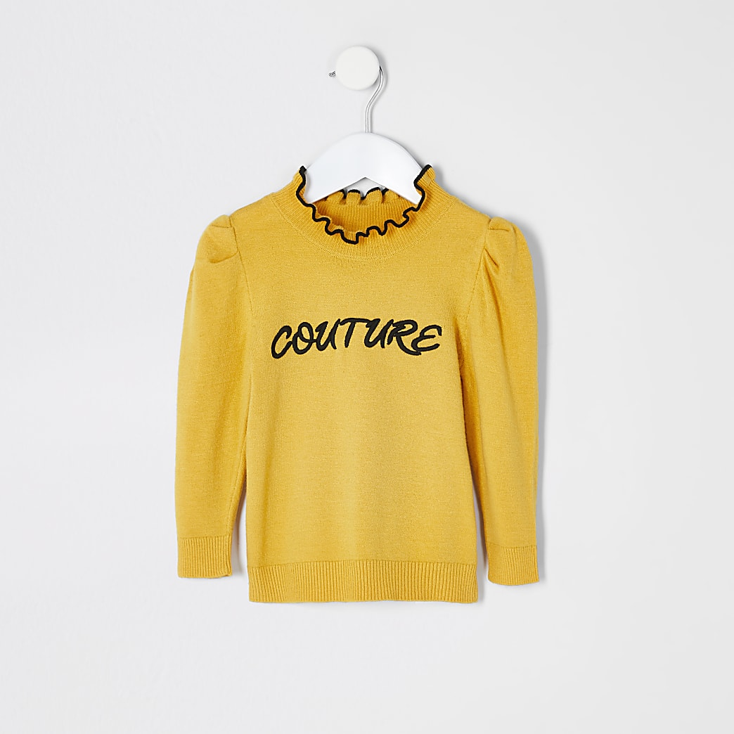 Mini girls yellow 'Couture' frill jumper