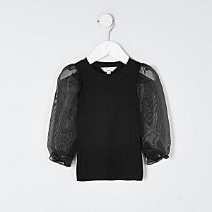Mini - Zwarte top met lange organza mouwen voor meisjes