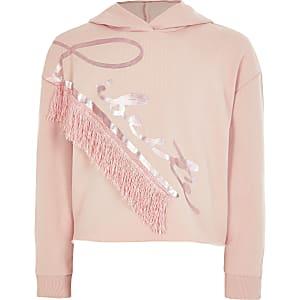 Roze hoodie met 'Liberte'-print en kwastejes voor meisjes