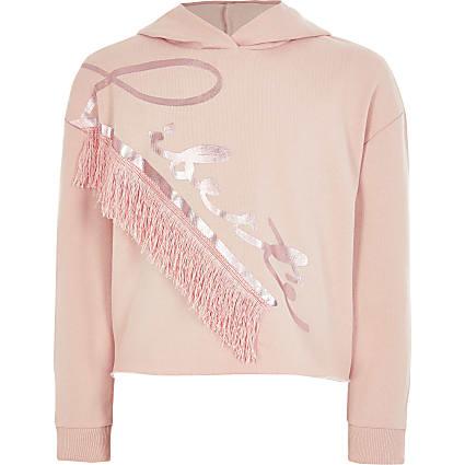 Girls pink 'Liberte' tassel hoodie