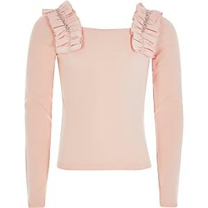 Roze top met lange mouwen met ruches en siersteentjes voor meisjes
