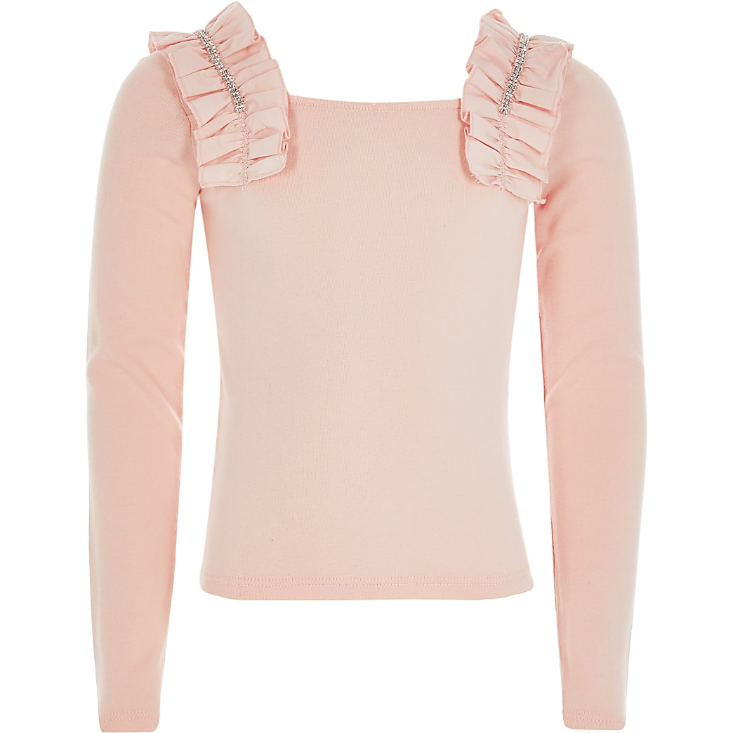 Girls pink diamante frill long sleeve top