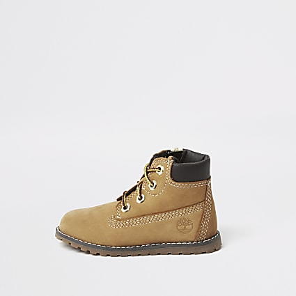 Mini boys Timberland brown lace-up boots