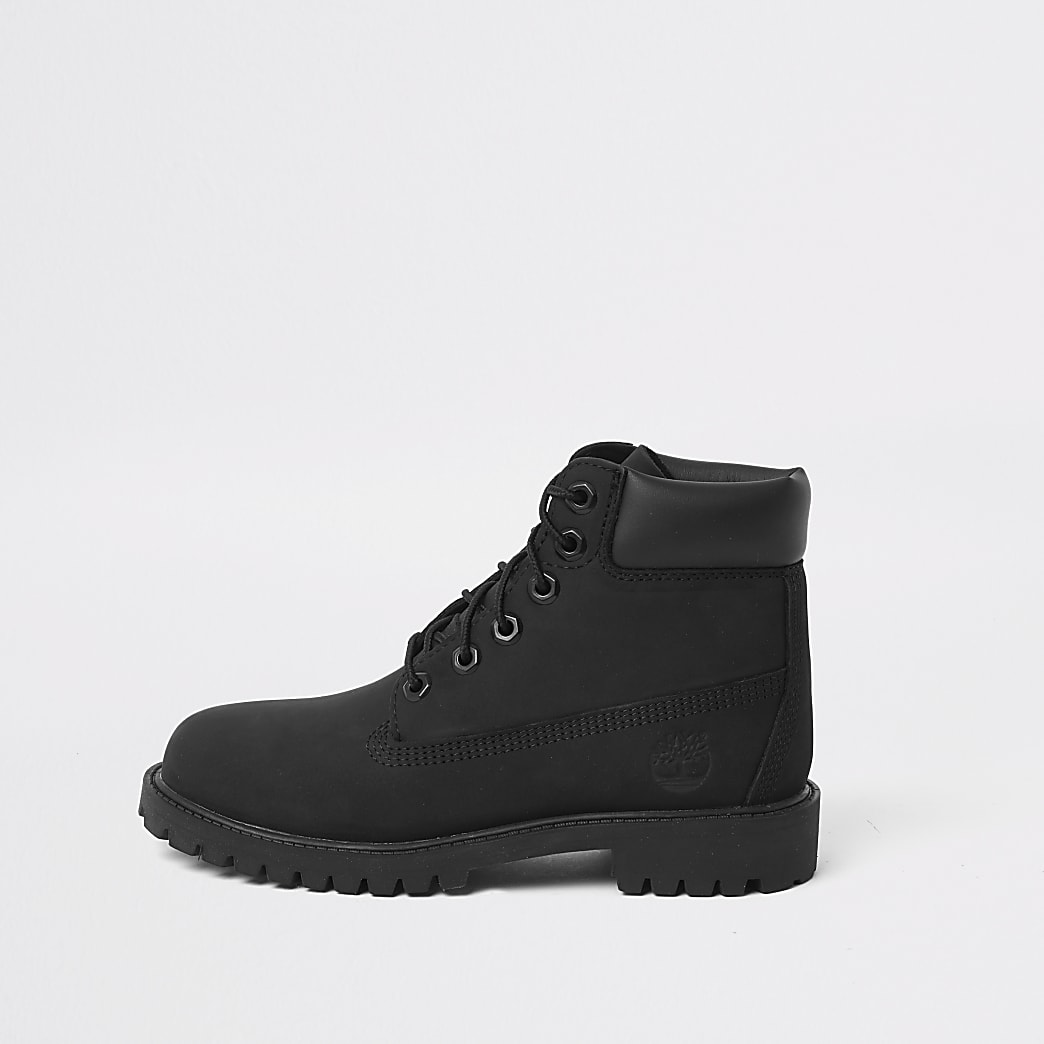 Timberland – Schwarze Stiefel mit Schnürung für Jungen