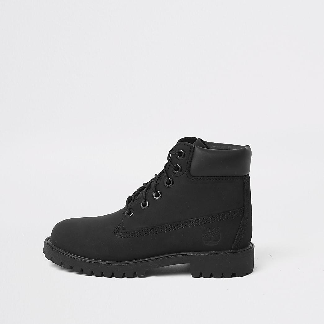 Timberland - Zwarte laarzen met vetersluiting voor jongens