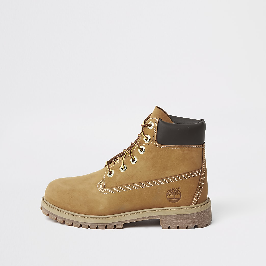 Boys Timberland brown lace-up boots