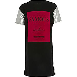 """T-Shirt-Kleid """"Famous"""" mit Ärmeln in Blockfarben für Mädchen"""
