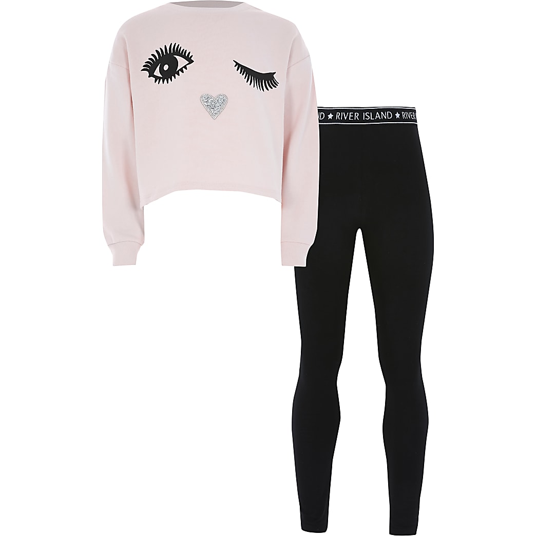 Girls pink eyelash printed sweatshirt outfit