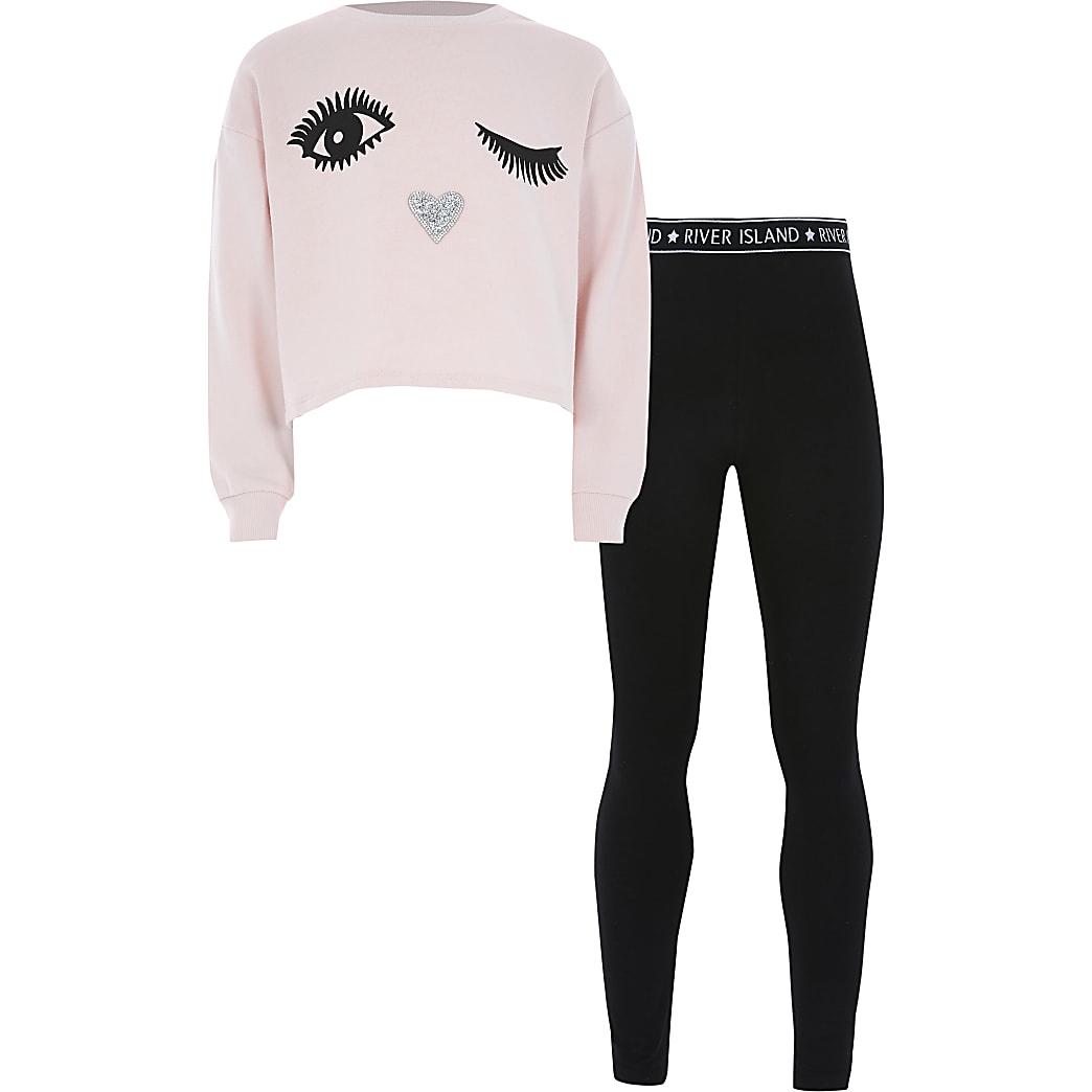 Roze sweater outfit met wimperprint voor meisjes