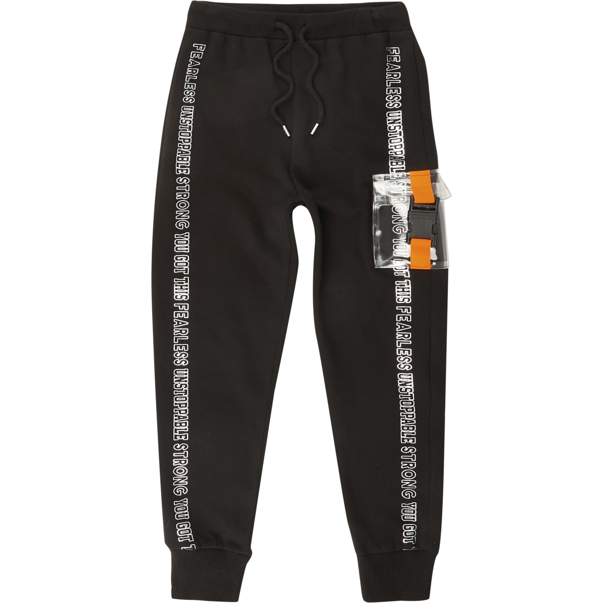 Girls black buckle pocket joggers