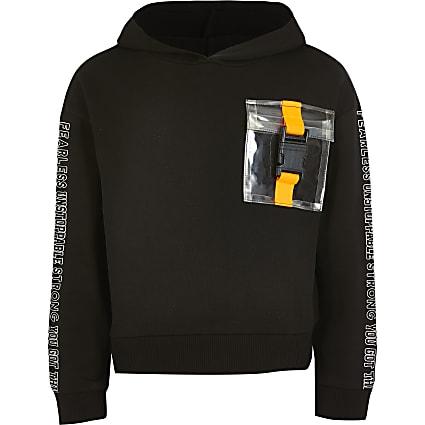 Girls black buckle pocket printed hoodie