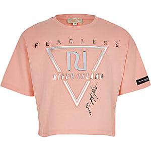 RI Active - Koraalkleurig T-shirt met print in reliëf voor meisjes