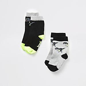 Mini – Schwarze Dinosaurier-Socken für Jungen, 2er-Pack