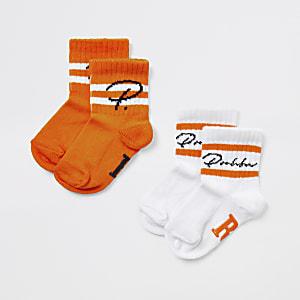 """Mini– Orangefarbene Socken für Jungen""""Prolific"""" im2er Pack"""
