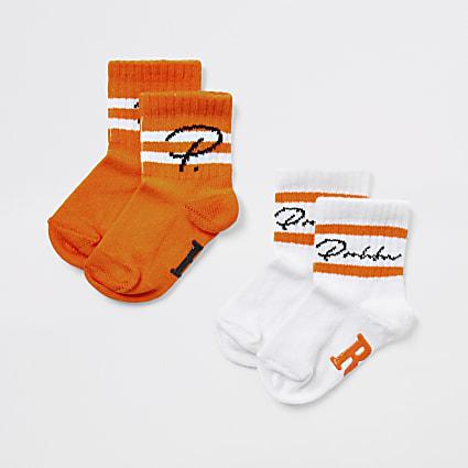 Mini boys orange Prolific socks 2 pack