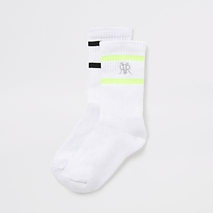 Boys white stripe RVR ribbed socks 2 pack