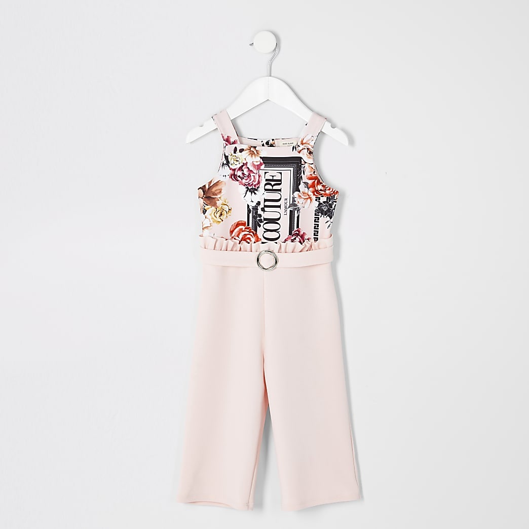 Mini girls pink 'couture' floral jumpsuit