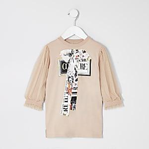Mini – Beiges T-Shirtkleid mit Mesh-Einsatz am Ärmel für Mädchen