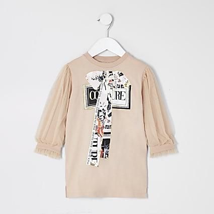 Mini girls beige mesh sleeve T-shirt dress