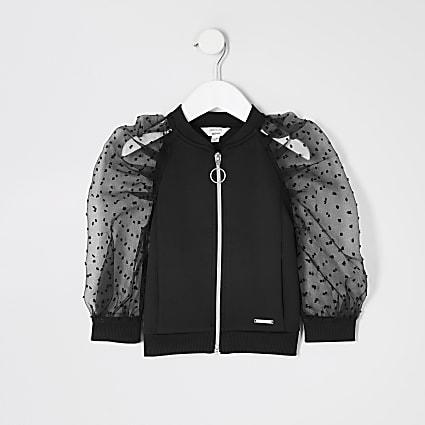 Mini girls black organza puff sleeve jacket