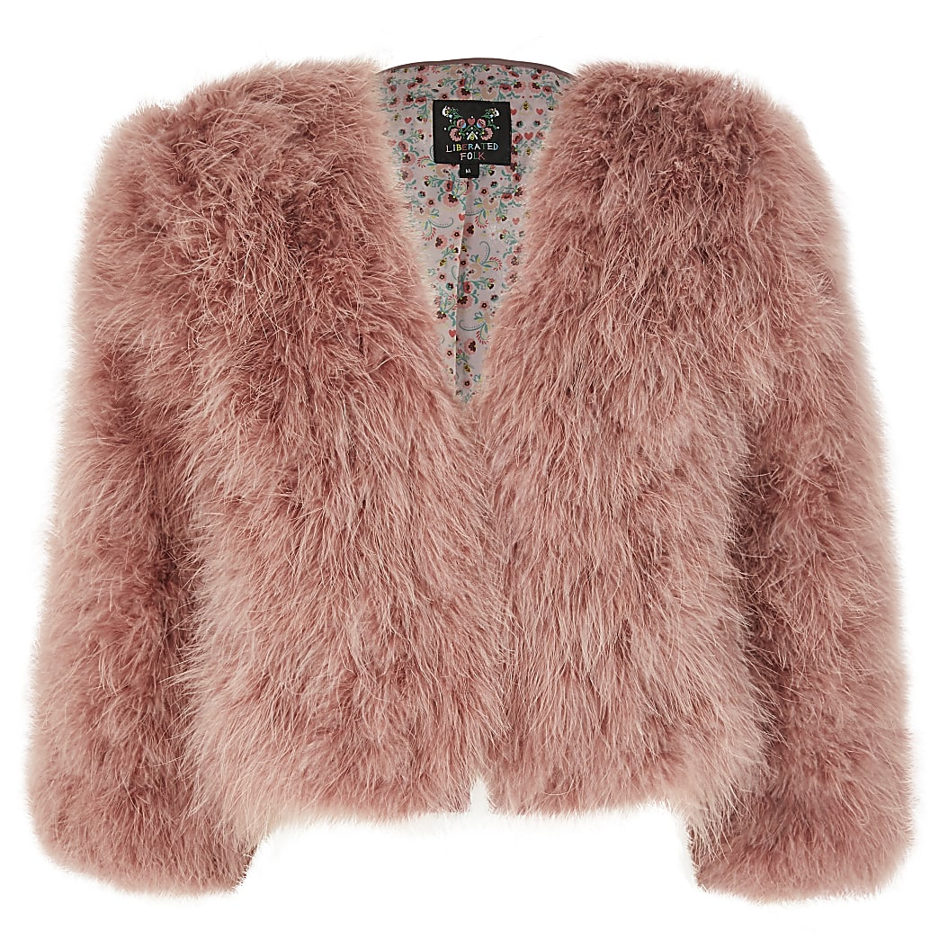Girls Liberated Folk pink feather jacket