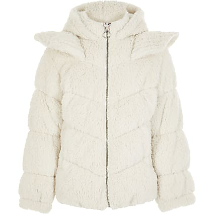 Girls Liberated Folk cream teddy coat