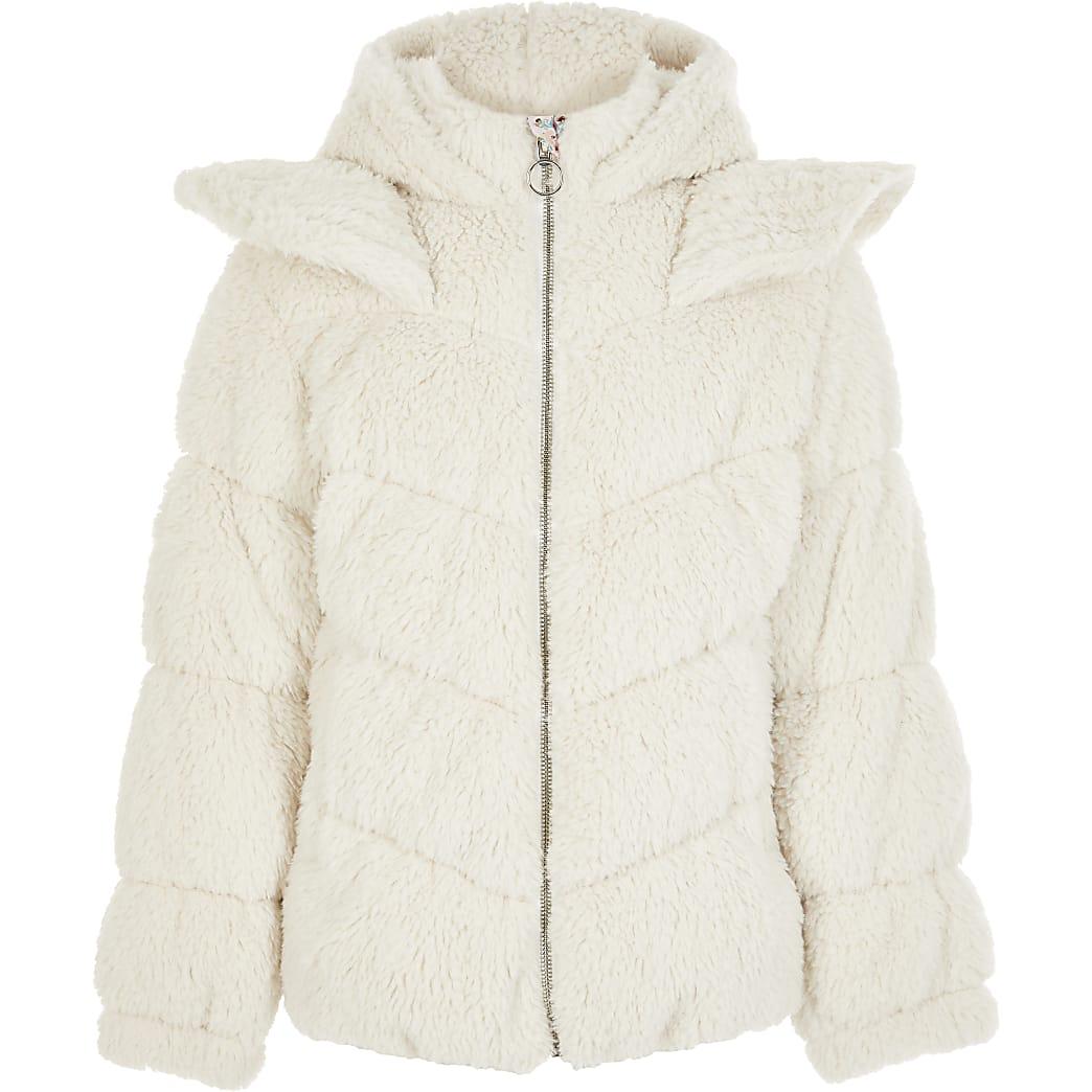 Girls Liberated Folk cream teddy coat